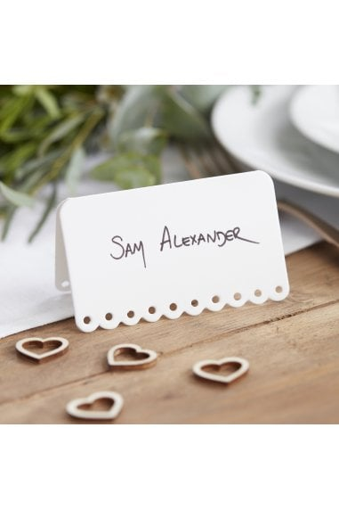 Ginger Ray Botanics Scalloped White Place Cards