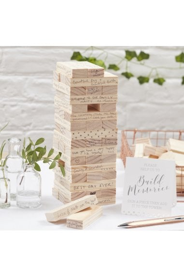 Ginger Ray Botanics Wooden Build a Memory Building Blocks Guest Book