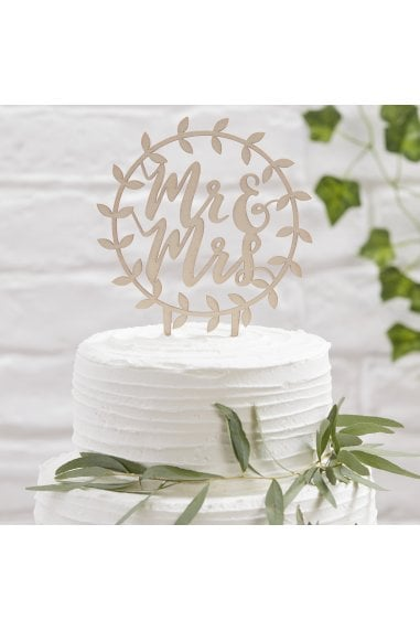 Ginger Ray Botanics Wooden Mr & Mrs Script Cake Topper