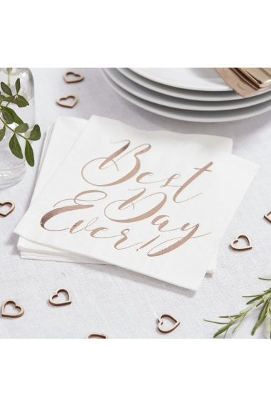Ginger Ray Rose Gold Botanics Best Day Ever Napkins
