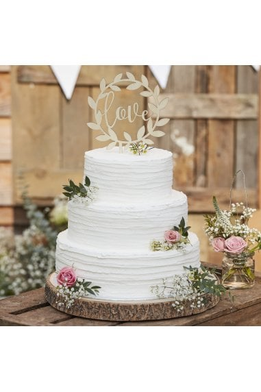 Ginger Ray Rustic Wooden Love Cake Topper