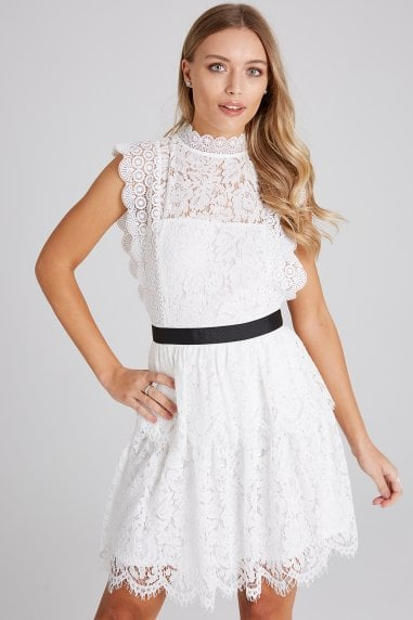 Ida White Tiered-Lace Dress