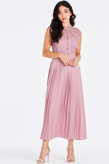 Alanis Blush Lace Top Midaxi Dress