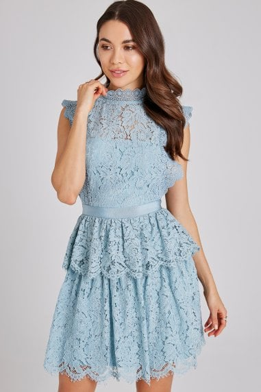 Ida Blue Tiered-Lace Dress