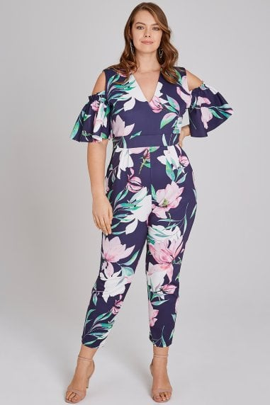 Aske Navy Floral-Print Cold-Shoulder Jumpsuit