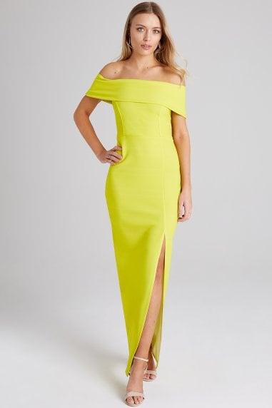 Alva Neon Lime Bardot Maxi Dress
