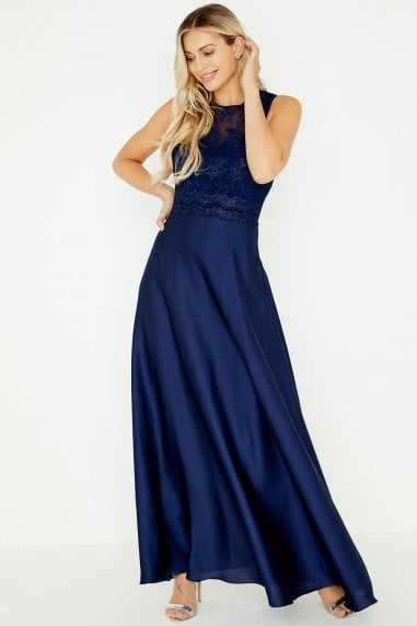 Justina Navy Lace Top Maxi Dress