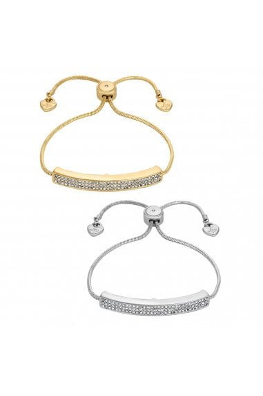 Gold/ Silver Crystal Pave Bar Toggle Bracelet - Pack of 2