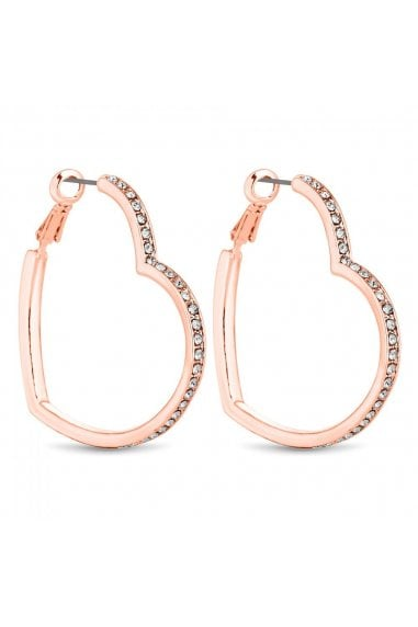 Rose Gold Crystal Heart Hoop Earrings
