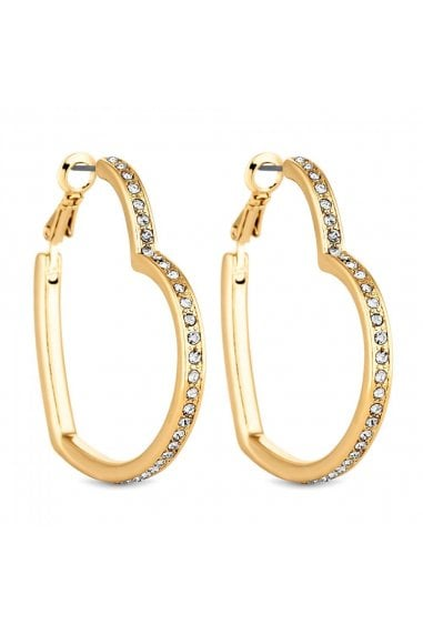 Gold Crystal Heart Hoop Earrings