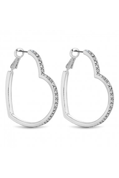 Silver Crystal Heart Hoop Earrings