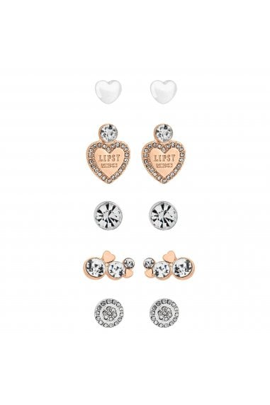 Rose Gold And Silver Crystal Earrings Set