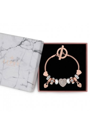 Rose Gold Pave Crystal Heart Charm Bracelet