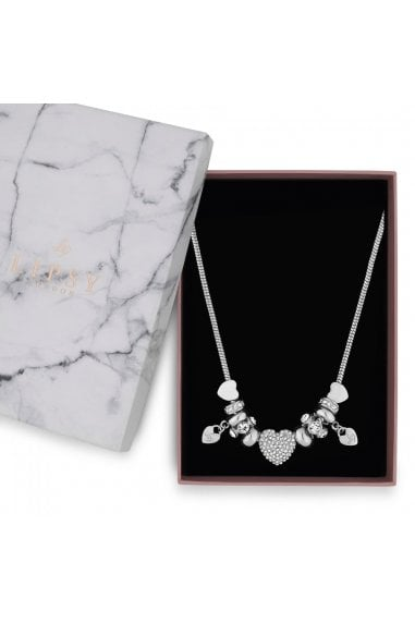 Silver Pave Crystal Heart Charm Necklace