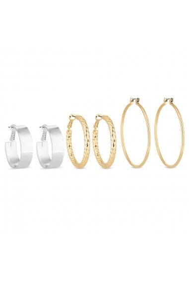 Multi Tone Hoop Earrings Set