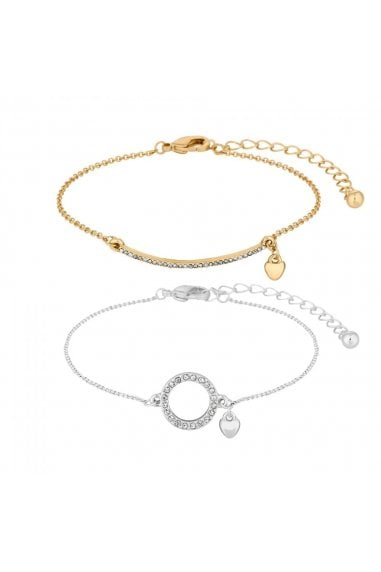 Multi Tone Pave Bar And Ring Bracelet Set