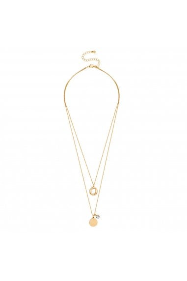 Gold Coin Charm Multi Row Necklace