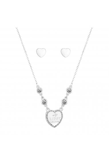 Silver Crystal Heart Jewellery Set