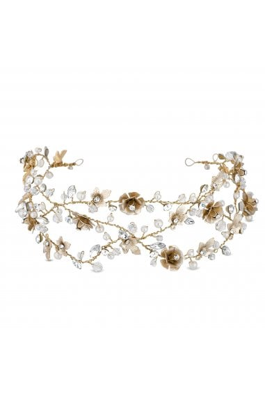 Gold Plated Clear Crystal Floral Vine Hair