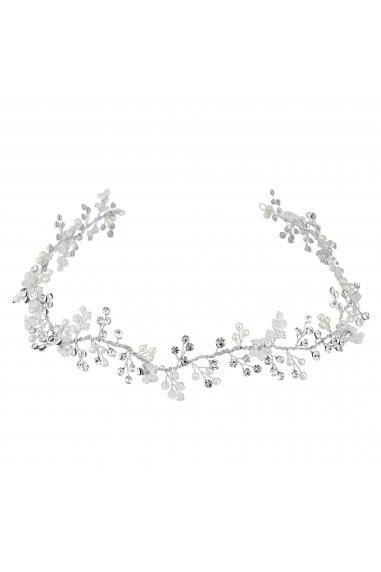 Silver Plated Clear Statement Lydia Pearl And Crystal Vine Hair