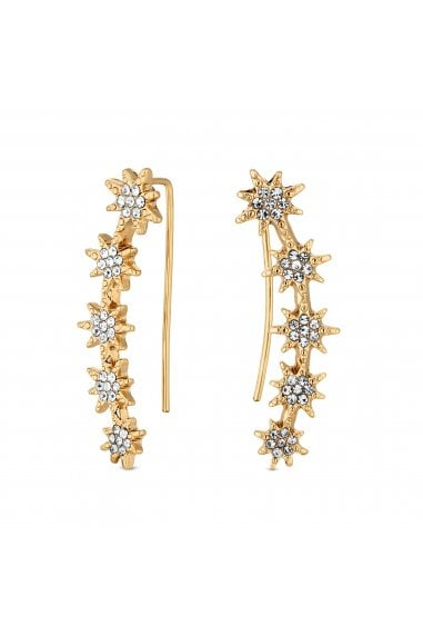 Gold Plated Clear Star Stud Earrings