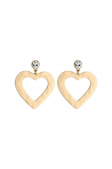 Gold Plated Clear Heart Drop Earrings