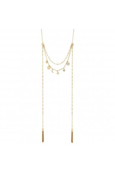 Gold Plated Clear Celestial Multi-Row Necklace