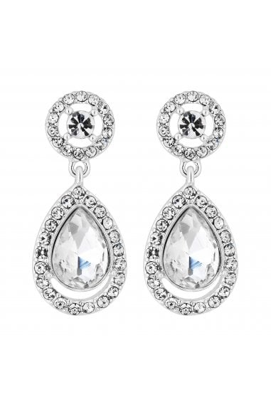 Silver Plated Clear Halo Teardrop Drop Earring