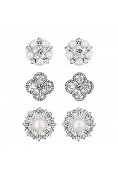 Silver Plated White 3 Pack Floral Stud Earrings