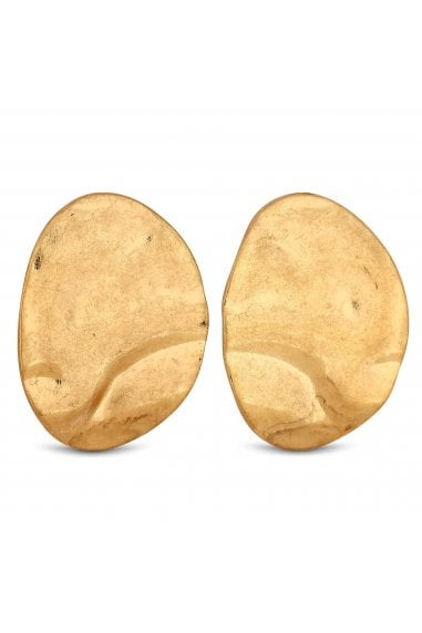 Gold Plated Gold Large Hammered Stud Earrings
