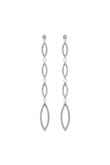 Silver Plated Clear Navette Drop Earrings