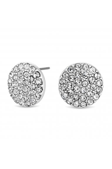 Silver Plated Clear Round Pave Stud Earrings