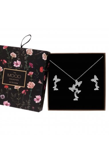Silver Plated Clear Hot Offer Pave Butterfly Necklace And Earring Matching Set