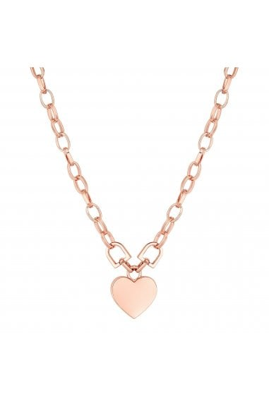 Rose Gold Plated Pink Heart Short Pendant Necklace