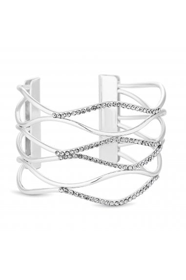 Silver Plated Clear Pave Wave Cuff Bracelet