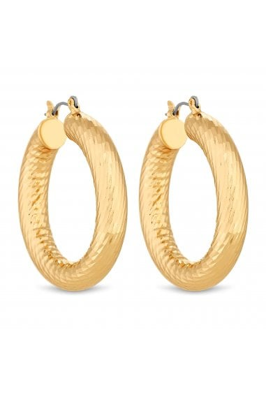 Gold Plated Gold Texture Chubby Hoop Earrings