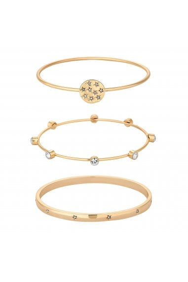 Gold Plated Clear 3 Pack Celestial Bangle Bracelet