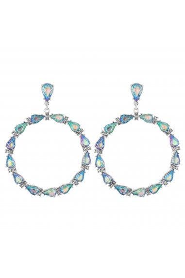 Silver Plated Clear Teardrop Link Hoop Earrings