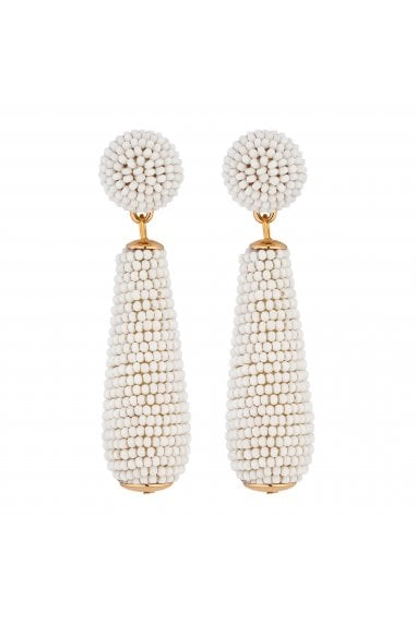 Gold Plated White Seed Bead Drop Earrings