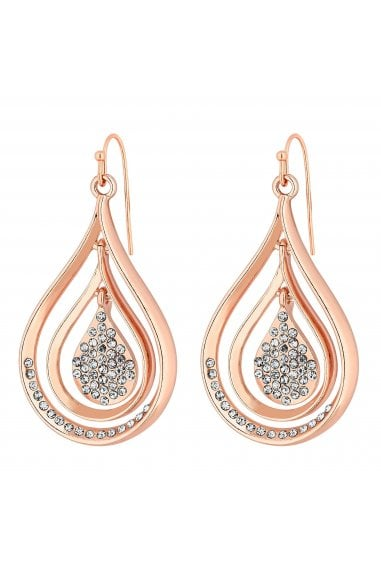 Rose Gold Plated Clear Teardrop Drop Earrings