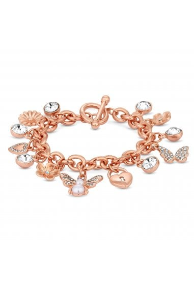 Rose Gold Plated Clear Multi Charm Bug Bracelet