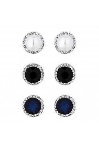 Silver Plated Multi-Coloured 3 Pack Stud Earring