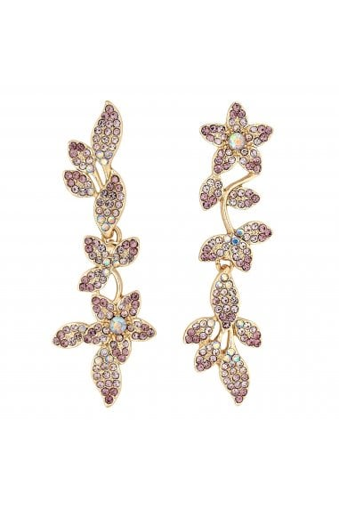 Rose Gold Plated Pink Floral Drop Earrings