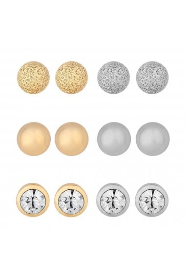 Mixed Plate Multi-Coloured 6 Pack Stud Earrings