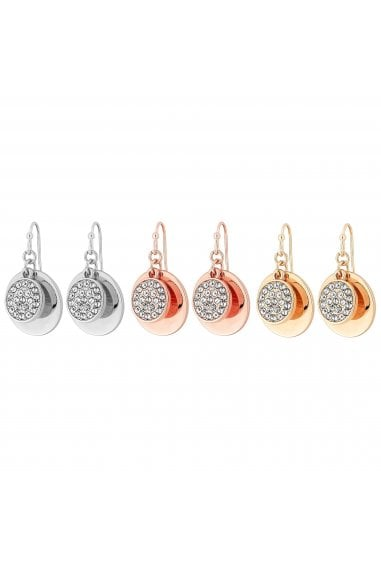Mixed Plate Multi-Coloured 3 Pack Disc Drop Earrings