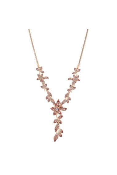 Rose Gold Plated Pink Floral Lariat Necklace
