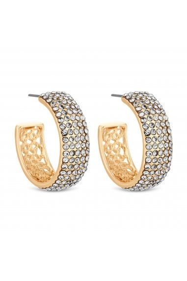 Rose Gold Plated Clear Pave C Hoop Earrings