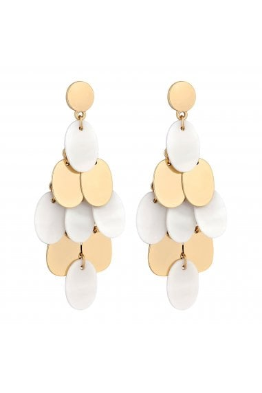 Gold Plated Cream Polished Drop Earrings