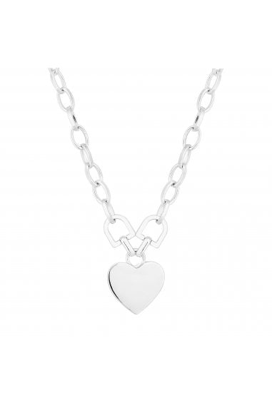 Silver Plated Silver Heart Short Pendant Necklace