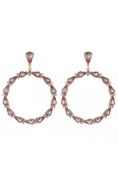 Rose Gold Plated Pink Link Hoop Earrings